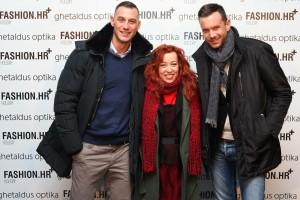 Paulo Valčić i Boran Petljak u društvu glavne urednice fashion.hr portala, Mije Dropuljić